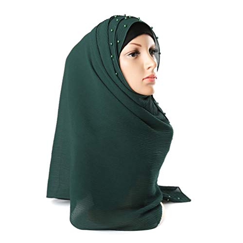 Women Muslim Scarf Pearl Solid Hijab Wrinkle Headscarf Scarves Islamic Wrap Shawls (Green) ()