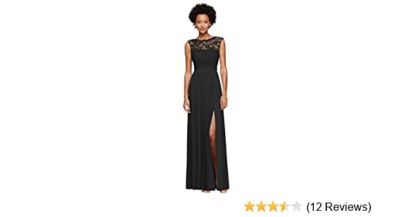 391e3a325d8 Long Bridesmaid Dress with Lace Bodice Style F19328 at Amazon ...