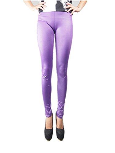 Coffeepop de mujer Fashion diseño de piel sintética elástico ajustado Leggings morado claro
