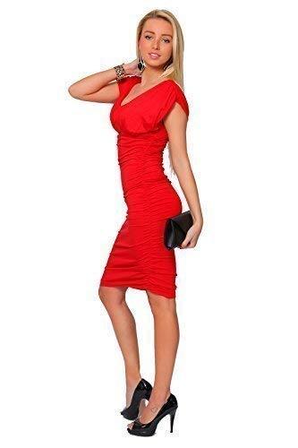 Extensible Col V De 8128 Femmes Fashion Moulant Red Cocktail Robe Élégant Futuro Tunique xCqRYzwZx1