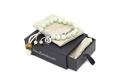 (Adjustable Mala Bracelet for Women - Amazonite Bracelet - Mala Beads Bracelet - Green Bracelet for Woman - Beaded Bracelet)