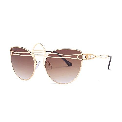 Tonos Gafas Gafas Sol Señoras Aleación Uv Tea Mujeres Gold Gafas G437 C3 De De Hueco Vintage De Bastidor Ojo TIANLIANG04 Gato C8 ZnxwA6qzpp