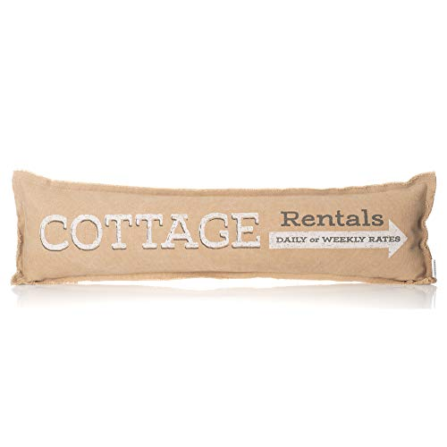 Honey In Me Cottage Rentals Arrow Tan Lumbar 24 x 8 Inch Canvas Cotton Blend Decorative Throw Pillow