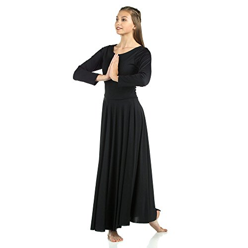Danzcue Womens Praise Loose Fit Full Length Long Sleeve Dance Dress, Black, - Polyester Dance