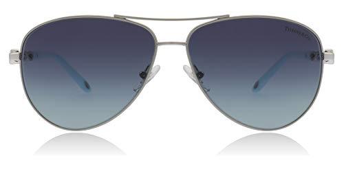 bfa1325e1f7b Tiffany Sun 0TF3049B Full Rim Pilot Woman Sunglasses - Size 58 (Silver    Azure Gradient