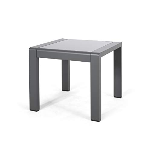 Giovanna Coral Outdoor Aluminum Side Table with Glass Top, Matte Gray and Gray Finish