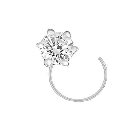 CARATS FOR YOU 950 Solid Platinum 0.12ct Round Shape Genuine Real Natural Diamond Solitaire Nose Ring Stud Pin for -