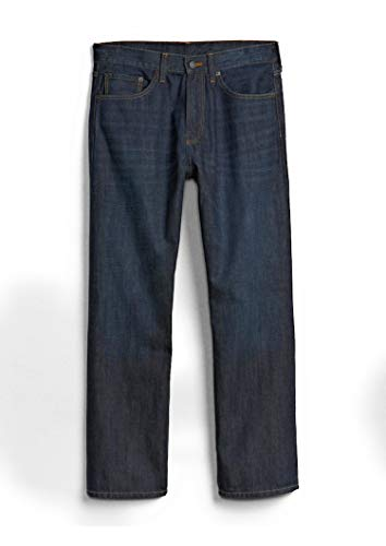 GAP Men's Jeans in Relaxed Fit, Dark Resin Wash, Non-Stretch Cotton ()