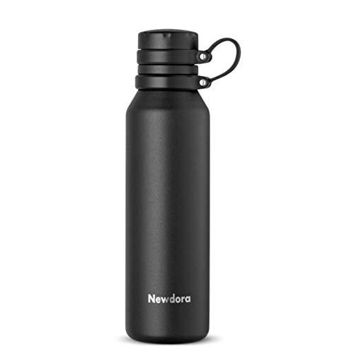 Newdora Botella de Agua Acero Inoxidable 750ml, Botellas de Frio/Caliente, Botella Termica con 1 un Cepillo de Limpieza, Botella Reutilizable para Deporte, Oficina, Gimnasio, Ciclismo