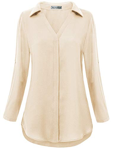 (Miss Fortune Women Blouses for Work, Beige Flared Tunic Aline Ladies Tops 3/4 Sleeve Button Front Shirts Classic Collar Pretty Tops Date Casual Office Wear Large)