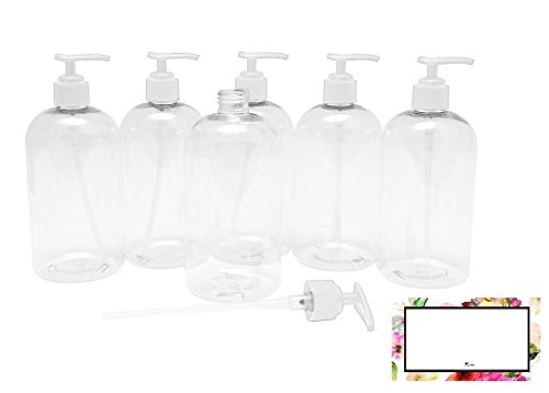 Packaging 8 Ounce Bottle - BAIRE BOTTLES - 8 OZ CLEAR PLASTIC REFILLABLE BOTTLES with WHITE PUMPS - ORGANIZE Soap, Shampoo and Lotion with a Clean, Clear Look - PET, Leak-proof, BPA Free - 6 Pack, 6 FLORAL LABELS