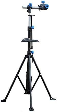 ポータブルアジャスタブルバイク修理スタンド、折りたたみ式自転車修理ラックワークスタンド、360°回転式リフト、テレスコピックアーム付き、ツールトレイ&バランスポール自転車ラック