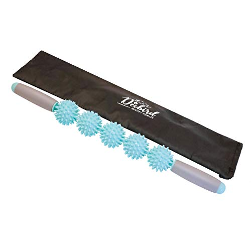 Decbird Muscle Pains/Tension Relief Massage Roller, Soft Rubber Padded Five Spiky Balls Massage Stick, Cellulite Breaking Down Stick, Skin Beauty/Fat Loss/Muscle Pain/Tension Relieve Roller (Blue) by Decbird