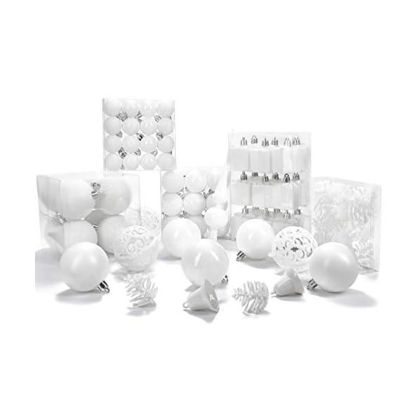Brubaker Set di 101 Accessori Decorativi per L'Albero di Natale - addobbi Natalizie in Color Bianco - Diverse Forme di Palline ed Un Puntale per Albero di Natale 5 spesavip