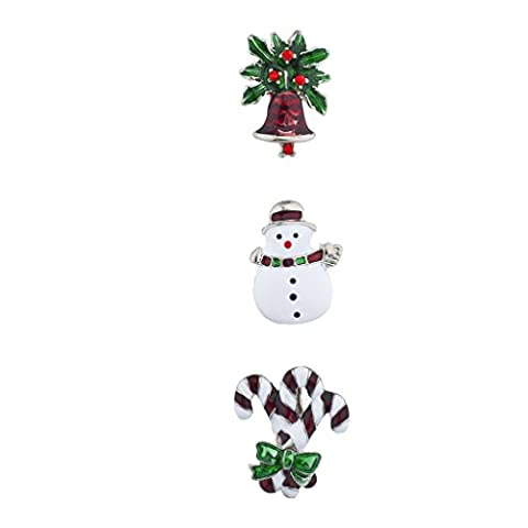 Lux Accessories Silvertone Holiday Snowman Candy Cane Brooch Pin Set (3PCS)