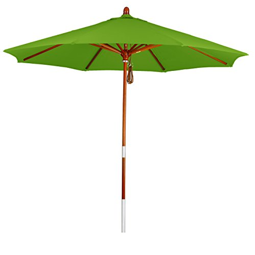 Phat Tommy 7.5 Ft. Marenti Wood Outdoor Market Umbrella with Pacifica Fabric Outdoor Living Shade, Gingko