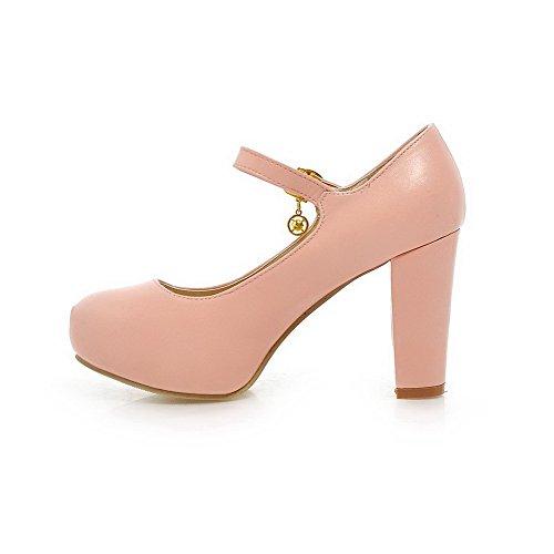 AllhqFashion Damen Weiches Material Schnalle Rund Zehe Rein Pumps Schuhe Pink