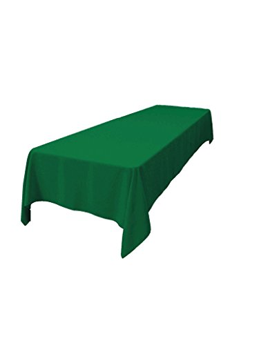LA Linen Polyester Poplin Rectangular Tablecloth, 60 x 108, Emerald Green (Green Table Cloths Fabric)