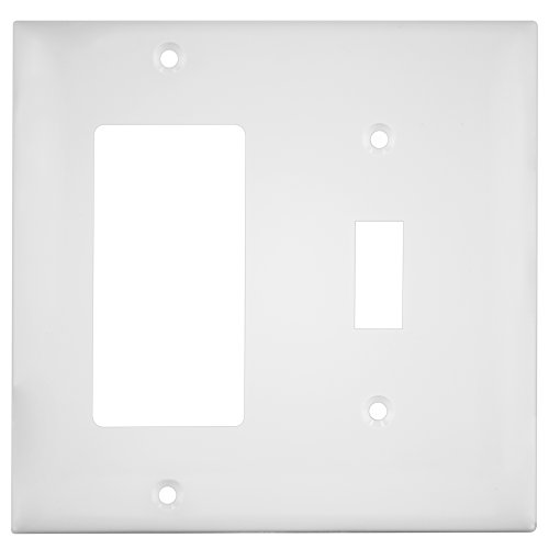 Enerlites 881131-W 2-Gang Decorator/Toggle Wall Switch Plate, Standard Size, Unbreakable Polycarbonate, - Covers Outlet Switchplates And