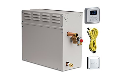 EliteSteam 15 KiloWatt Luxury Home Steam Shower System (Steam Shower Generator, Control, Steam Head, and Cable) (Brushed Nickel Inside Control)