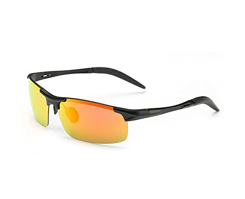 (Hero High-grade aluminum-magnesium polarized sunglasses driving mirror riding glasses discoloration (Black box orange lenses))