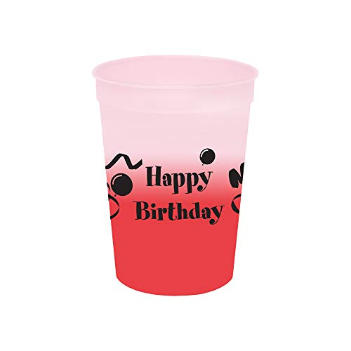 12oz. Mood Cups - Happy Birthday, Set of 12, Frosted Assorted ()