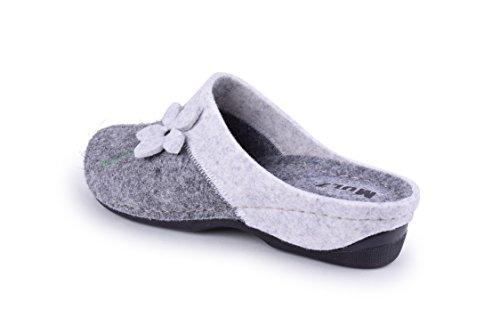 Mulz Chaussures Maison De Femmes - Laine Pantoufles Intérieur Et Extérieur - Made In Europe Gris / Blanc