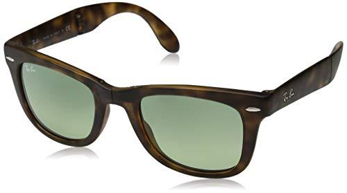 Ray-Ban RB4105 Wayfarer Folding Sunglasses, Matte Tortoise/Green Gradient, 50 ()