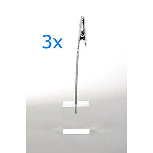 HAB & GUT (CROCO3) Kartenhalter 3er Set Würfel klar, Höhe 11cm, Würfel 2,5 cm, Acryl