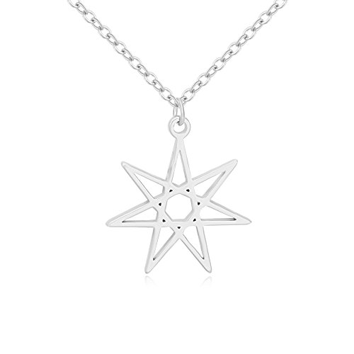 NOUMANDA Elven or Faerie Seven Pointed Star Septagram Pendant Necklace Rose Gold Silver Tone (Silver)]()