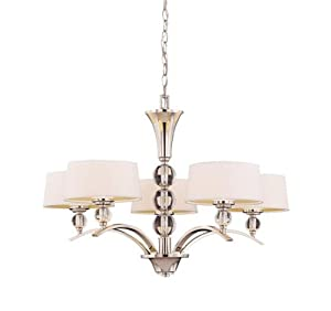 Savoy House Lighting 1-1035-5-109 Murren Collection 5-Light Single-Tier Chandelier, Polished Nickel with White Shades