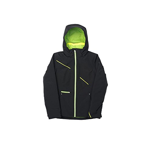 (Spyder Prevail Relaxed Fit Jacket Black/Green Flash/Bryte Yellow Women's 14)