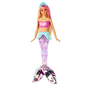 Best Epic Trends 31rj32AihUL._SS300_ Barbie Dreamtopia Sparkle Lights Mermaid Doll with Swimming Motion and Underwater Light Shows, Approx 12-Inch with Pink…