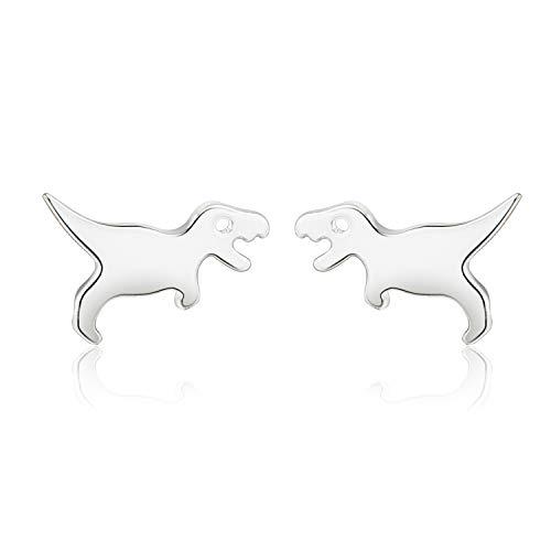 CISHOP Dinosaur Stud Earrings Cute Tiny Earrings in Sterling Silver for Gift ()
