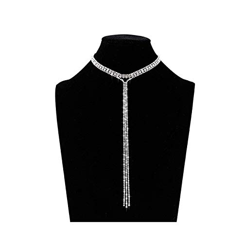 Rhinestone Fringe Necklace - LIAO Jewelry 3 Row Rhinestone Tassel Choker Necklace Crystal Collar Necklace Gothic Wide Diamond Charms for Girls (Silver)