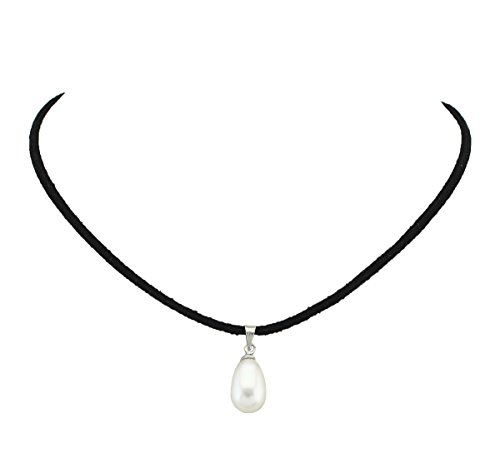 Necklace Cord Suede (MAIMANI Single Pearl Pendant Choker Necklace on Black Suede Cord Jewelry for Women 14