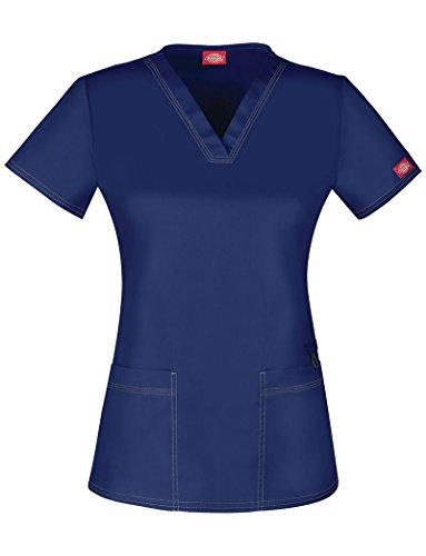 Solid Scrub Top (Dickies Gen Flex Women's V-Neck Solid Scrub Top Medium Navy)