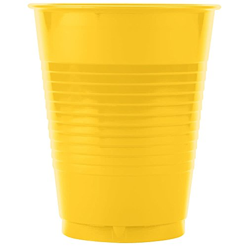 28102181 16 oz. School Bus Yellow Plastic Cup - 240/Case By TableTop King