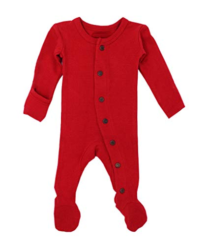 L'ovedbaby Unisex-Baby Organic Cotton Footed Overall (NB/Preemie (4-7 lbs.), Thermal Ruby)