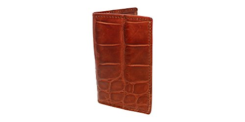 Cognac Genuine Millennium Alligator Gusseted Business/Credit Card Case Wallet – Alligator Inside and Out - Brown & Cognac - Factory Direct Made in USA by Real Leather Creations FBA302 by Real Leather Creations