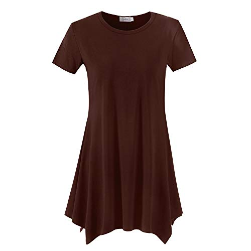 Topdress Women's Loose Fit Swing Shirt Casual Tunic Top for Leggings Coffee L