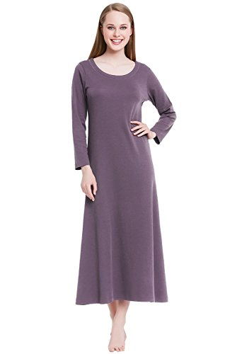 Alexander Del Rossa Womens Cotton Knit Nightgown, Long Scoop Neck Sleep Dress, XX-Large Pebble (A0402PBL2X)