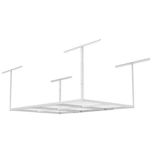 "FLEXIMOUNTS 3x6 Overhead Garage Storage Adjustable Ceiling Storage Rack, 72"" Length x 36"" Width x 40"" Height (1-pack-white-4x6 ft)"