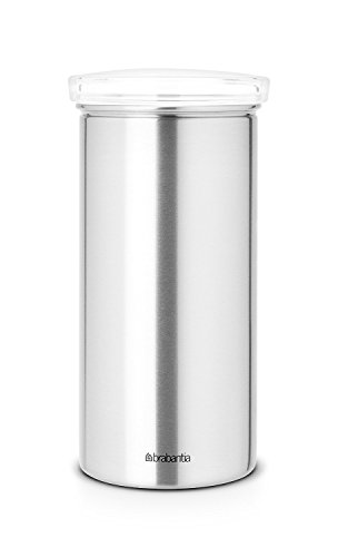 Brabantia 476242 Vorratsdose Kaffeepads Senseo mit Senseo-Aufdruck, matt steel mit Fingerprint Proof, transparenter Deckel