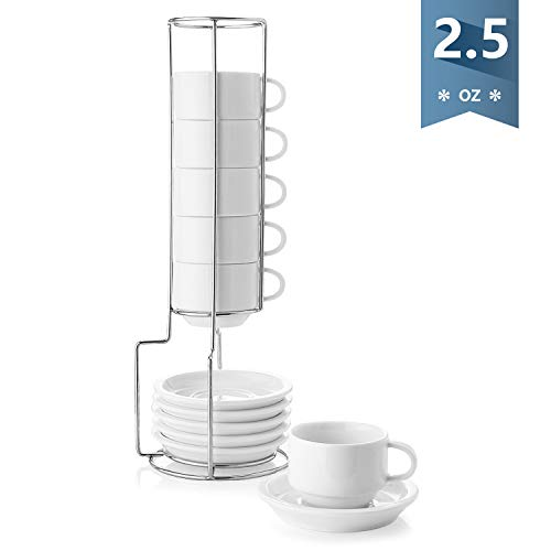Sweese 404.001 Porcelain Stackable Espresso Cups with Saucers and Metal