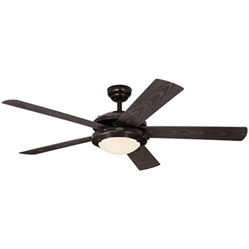 "Westinghouse 7200700 Comet Two-Light 52"" Five-Blade Indoor/Outdoor Ceiling Fan, Espresso with Frosted Glass"