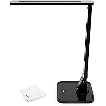 Dimmable LED Desk Lamp, 4 Lighting Modes(Studying, Reading, Relaxing, Sleeping), 5 Level Dimming, 1 Hour Auto Timer, Touch Sensitive Control, Modern, Piano Black - VONT
