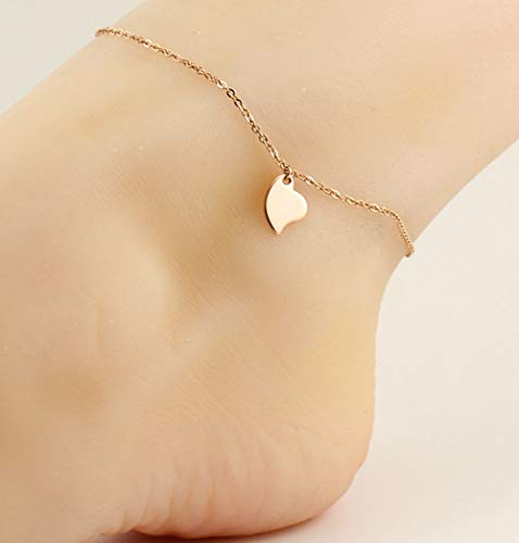 fine Fashion Women Girls Oblique Heart Foot Chain Anklet Ankle Bracelet Jewelry Plated Steel Rose Color Gold Accessories do not Fade Silver