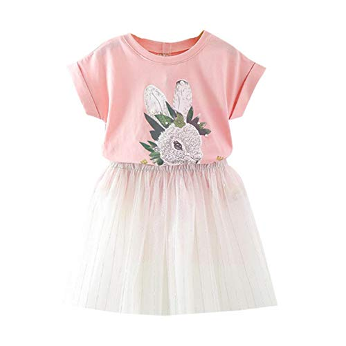 Motteecity Girls Clothes Set Cute Rabbit Short Sleeves T-Shirt and Lace Dresses Pink 5T]()