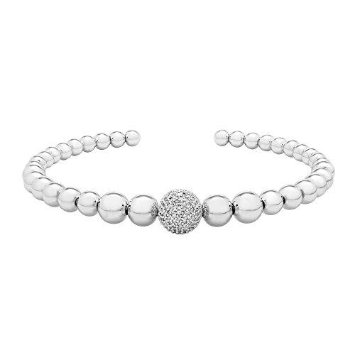 0.15 CTTW Diamond (IJ/I2I3) Beads Bracelet Set in Sterling Silver 7